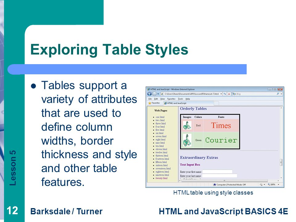 Lesson 5 Barksdale / TurnerHTML and JavaScript BASICS 4E 12 Exploring Table Styles Tables support a variety of attributes that are used to define column widths, border thickness and style and other table features.