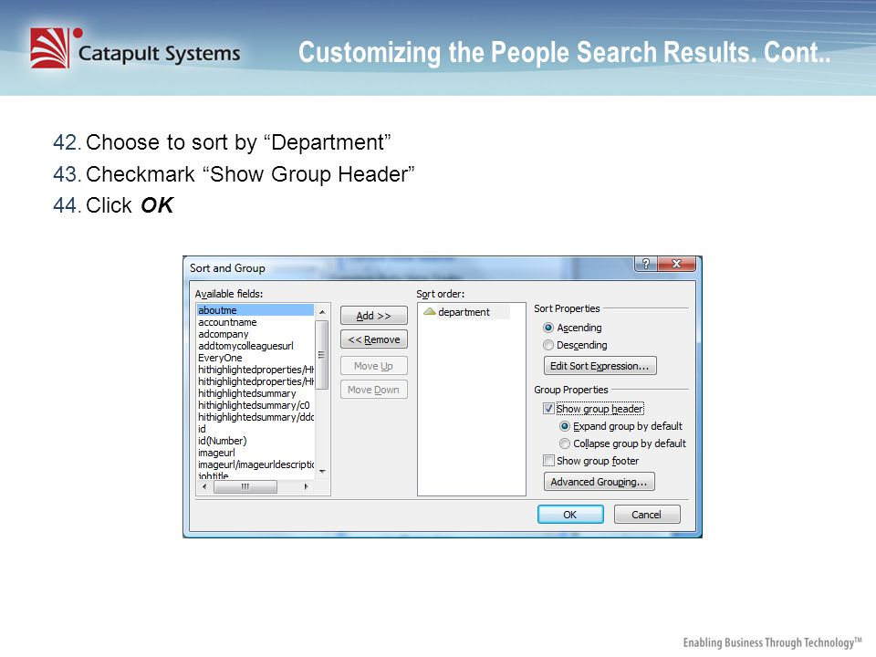 Customizing the People Search Results. Cont..