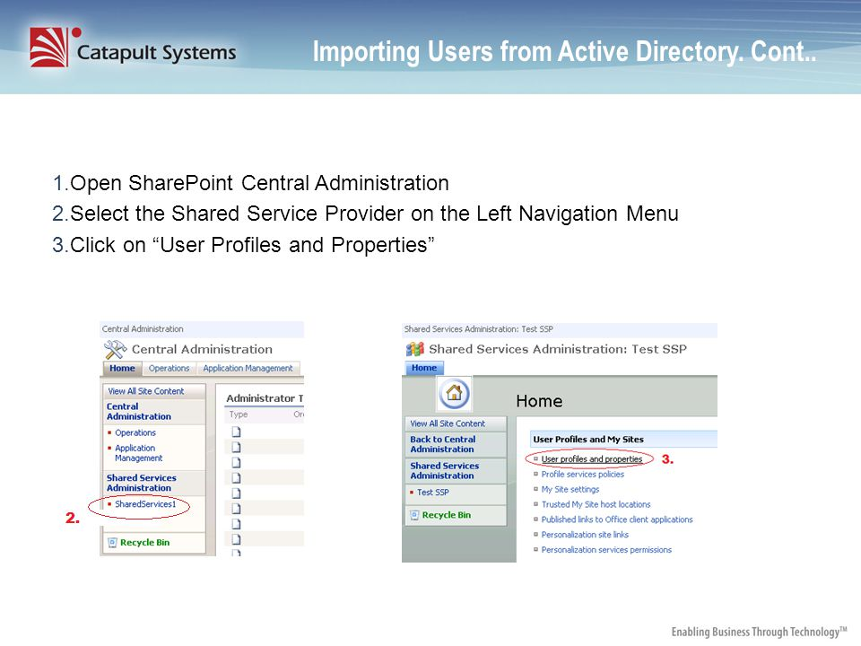 Importing Users from Active Directory. Cont..