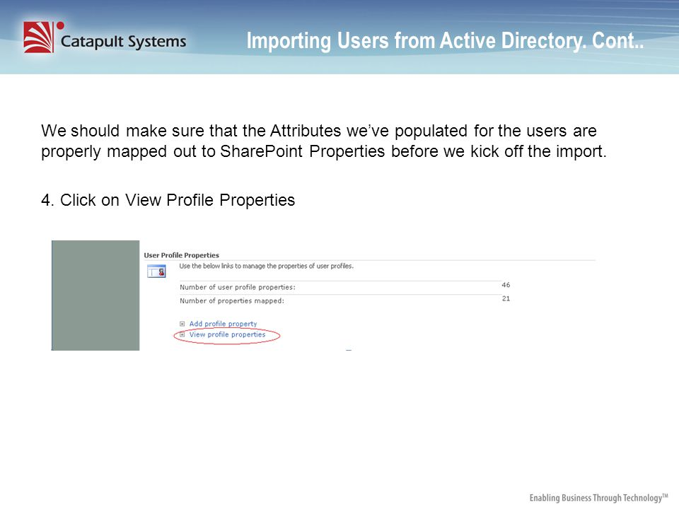 Importing Users from Active Directory.Cont..