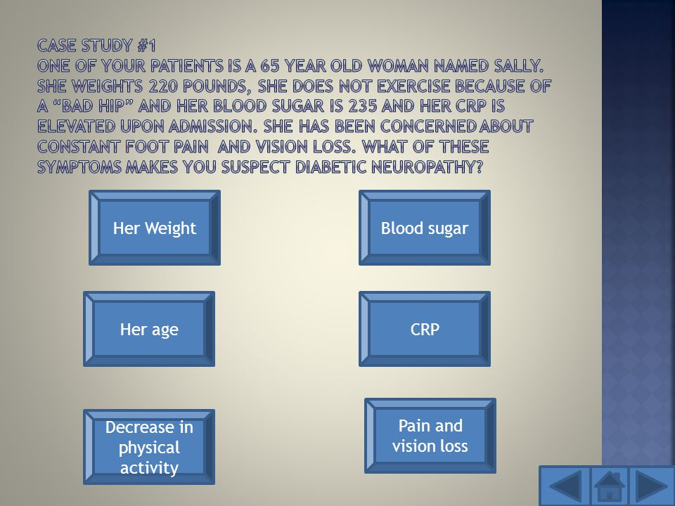 Her Weight Her age Decrease in physical activity Pain and vision loss CRP Blood sugar