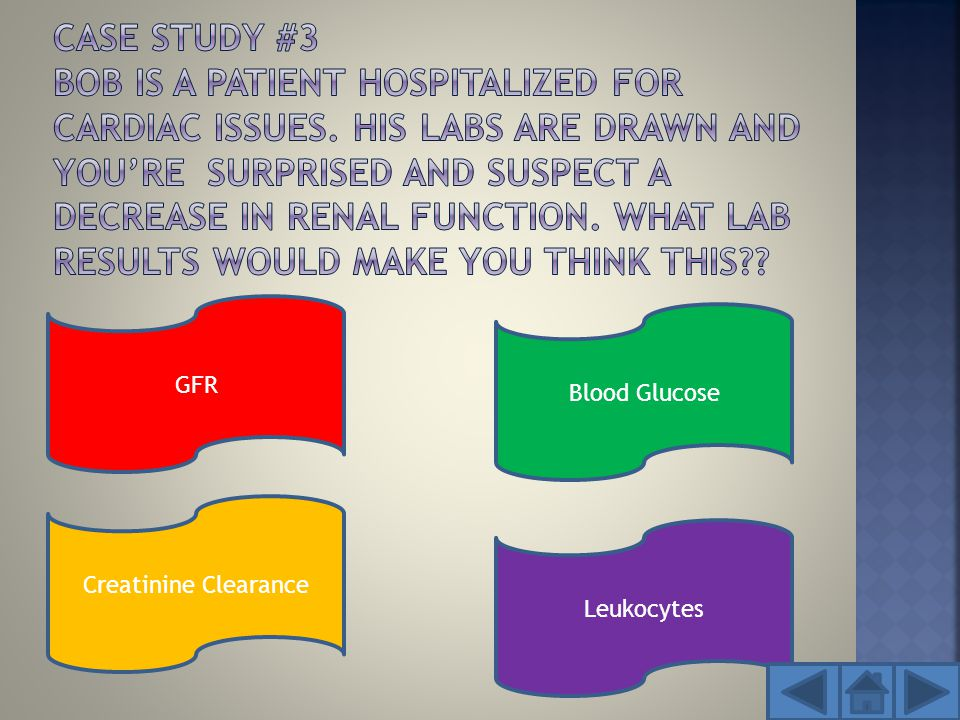 GFR Creatinine Clearance Leukocytes Blood Glucose