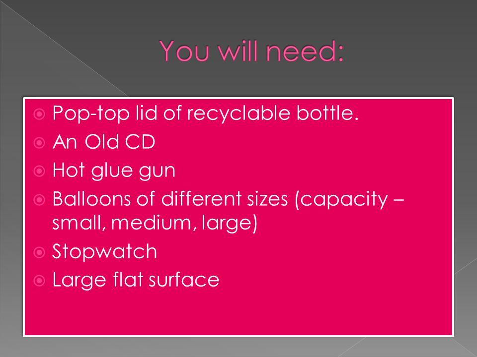  Pop-top lid of recyclable bottle.