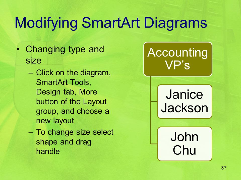 Modifying SmartArt Diagrams Accounting VP's Janice Jackson John Chu Changing type and size –Click on the diagram, SmartArt Tools, Design tab, More but