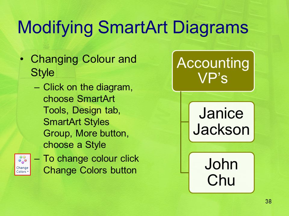 Modifying SmartArt Diagrams Accounting VP's Janice Jackson John Chu Changing Colour and Style –Click on the diagram, choose SmartArt Tools, Design tab
