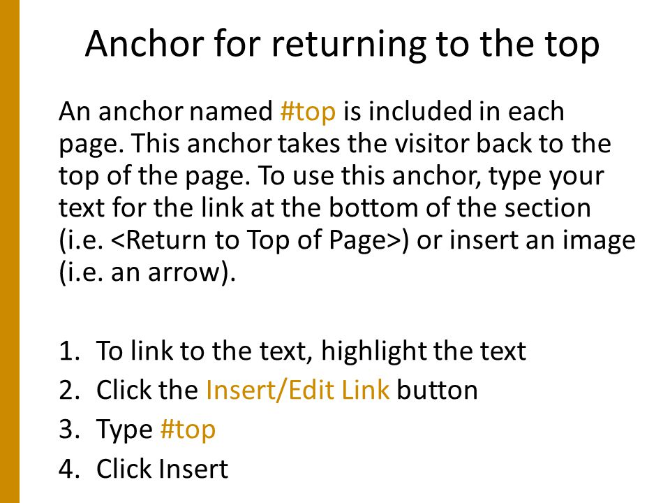 Anchor for returning to the top An anchor named #top is included in each page.