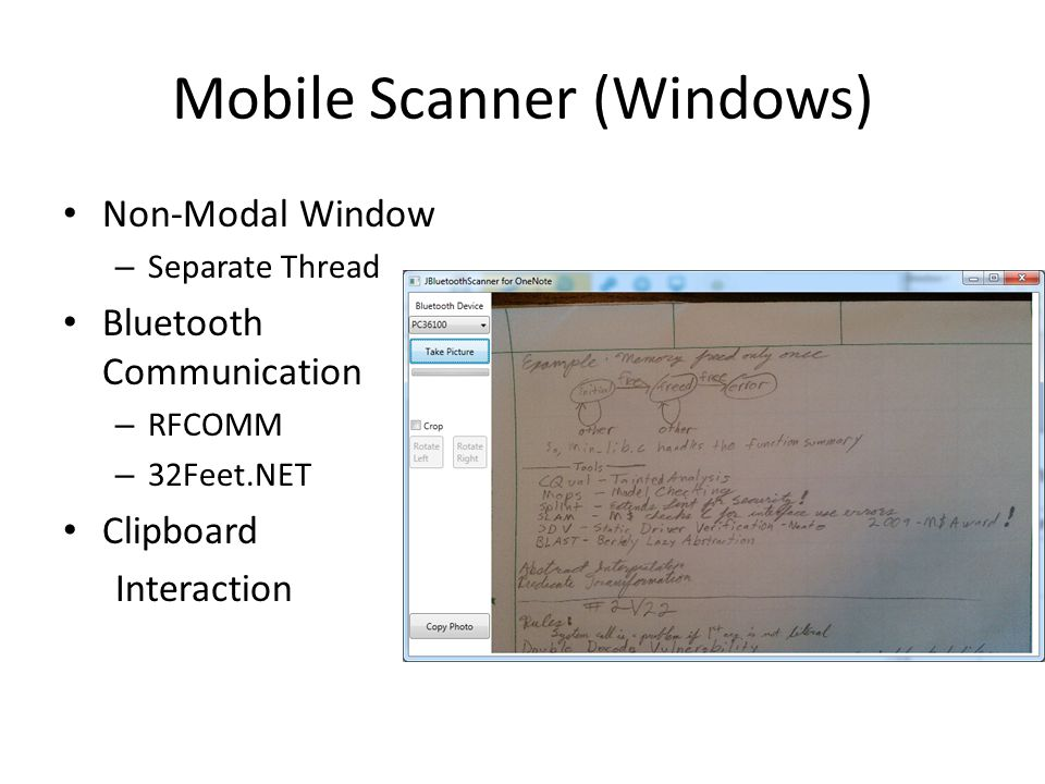 Mobile Scanner (Windows) Non-Modal Window – Separate Thread Bluetooth Communication – RFCOMM – 32Feet.NET Clipboard Interaction