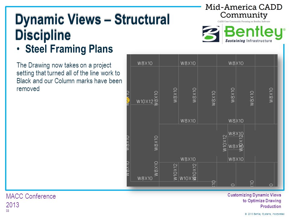 © 2013 Bentley Systems, Incorporated 33 MACC Conference 2013 Customizing Dynamic Views to Optimize Drawing Production Steel Framing Plans The Drawing