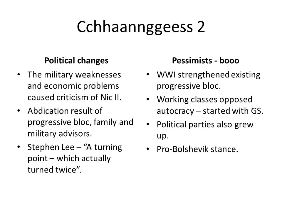 Cchhaannggeess 2 Political changes The military weaknesses and economic problems caused criticism of Nic II.