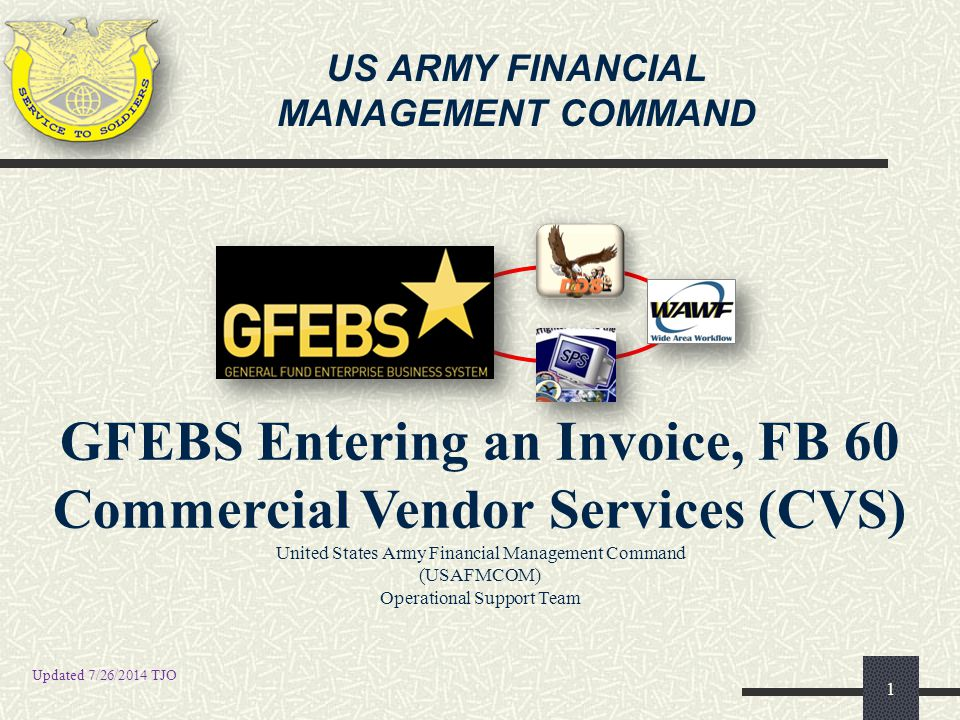 FB02 FB02- CHANGE DOCUMENT (FILE ATTACHMENT) 12 5 5 Hover over the Create… option then click on the Create Attachment option 4 4 Click the Services for Object button 1 1 Enter the desired Document Number (GFEBS Invoice document number) 2013 2 2 Enter the corresponding Fiscal Year 3 3 Press Enter