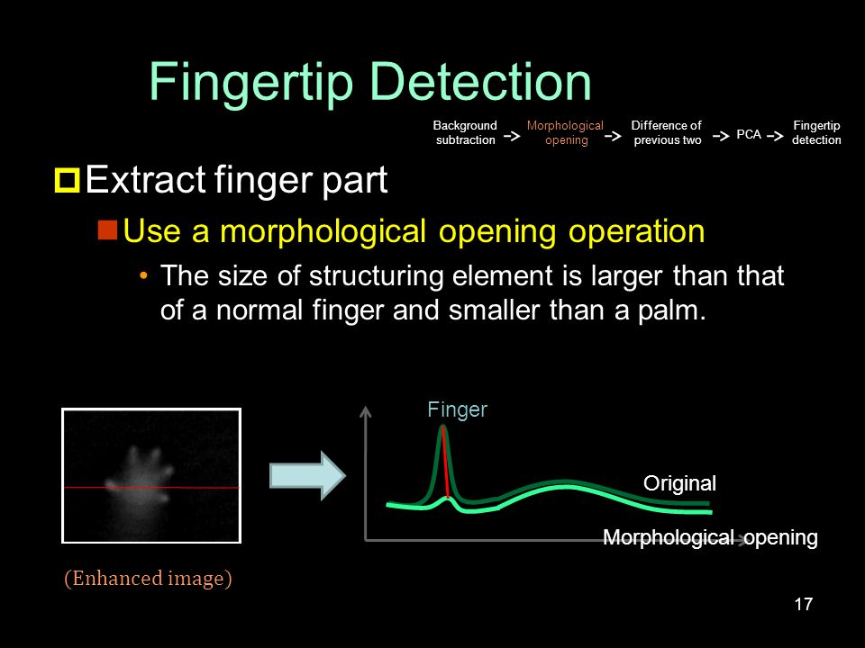 Fingertip Detection  Extract finger part Use a morphological opening operation The size of structuring element is larger than that of a normal finger and smaller than a palm.