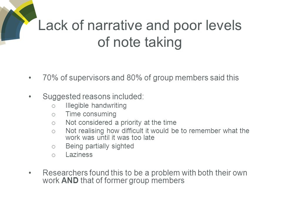 Lack of narrative and poor levels of note taking 70% of supervisors and 80% of group members said this Suggested reasons included: o Illegible handwriting o Time consuming o Not considered a priority at the time o Not realising how difficult it would be to remember what the work was until it was too late o Being partially sighted o Laziness Researchers found this to be a problem with both their own work AND that of former group members