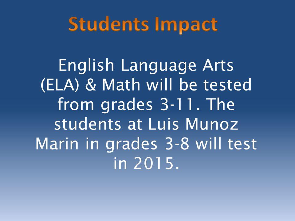 English Language Arts (ELA) & Math will be tested from grades 3-11.