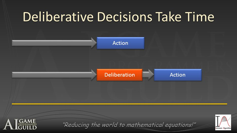 Reducing the world to mathematical equations! Deliberative Decisions Take Time Action Deliberation
