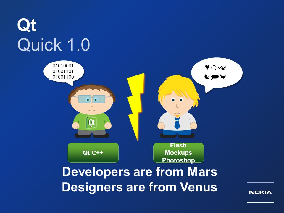 Qt Quick 1.0 Developers are from Mars Designers are from Venus 01010001 01001101 01001100 Qt C++ Flash Mockups Photoshop ♥☺   