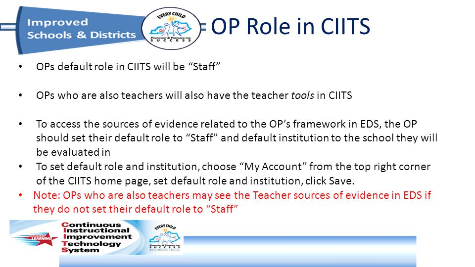OP Role in CIITS OPs default role in CIITS will be Staff OPs who are also teachers will also have the teacher tools in CIITS To access the sources of evidence related to the OP's framework in EDS, the OP should set their default role to Staff and default institution to the school they will be evaluated in To set default role and institution, choose My Account from the top right corner of the CIITS home page, set default role and institution, click Save.