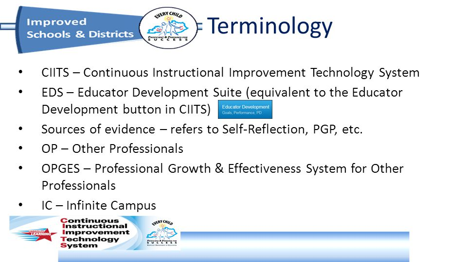 Terminology CIITS – Continuous Instructional Improvement Technology System EDS – Educator Development Suite (equivalent to the Educator Development button in CIITS) Sources of evidence – refers to Self-Reflection, PGP, etc.