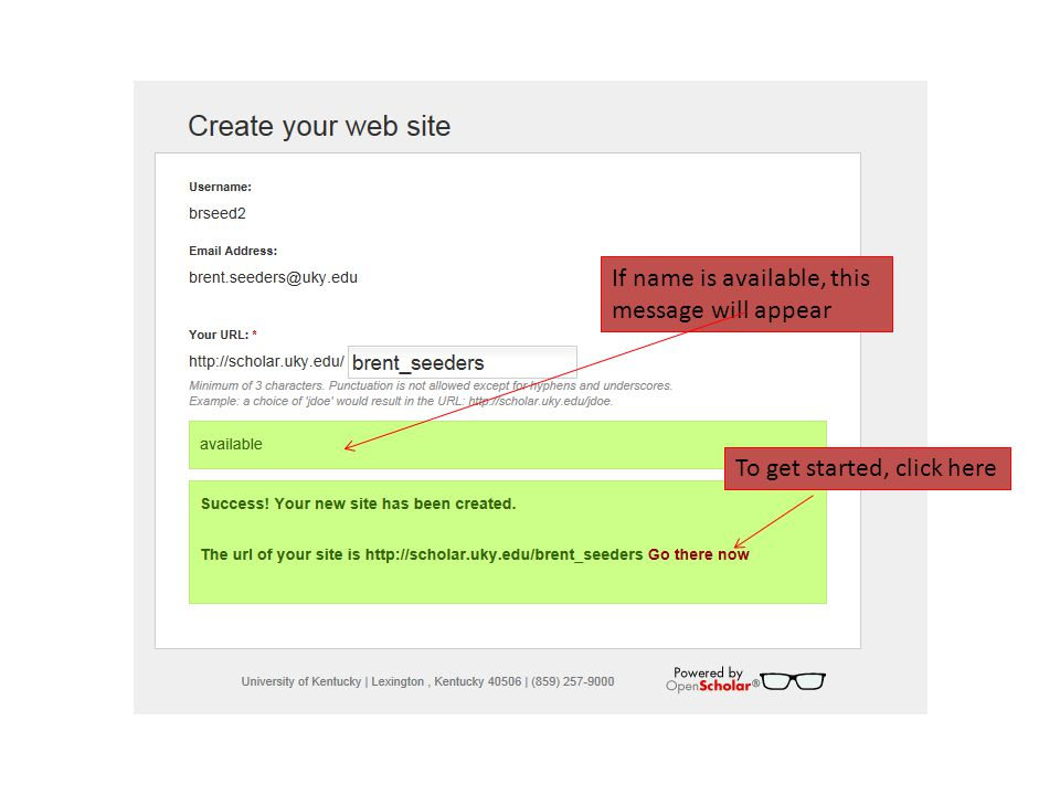 Announcements appear based on saved settings for site appearance