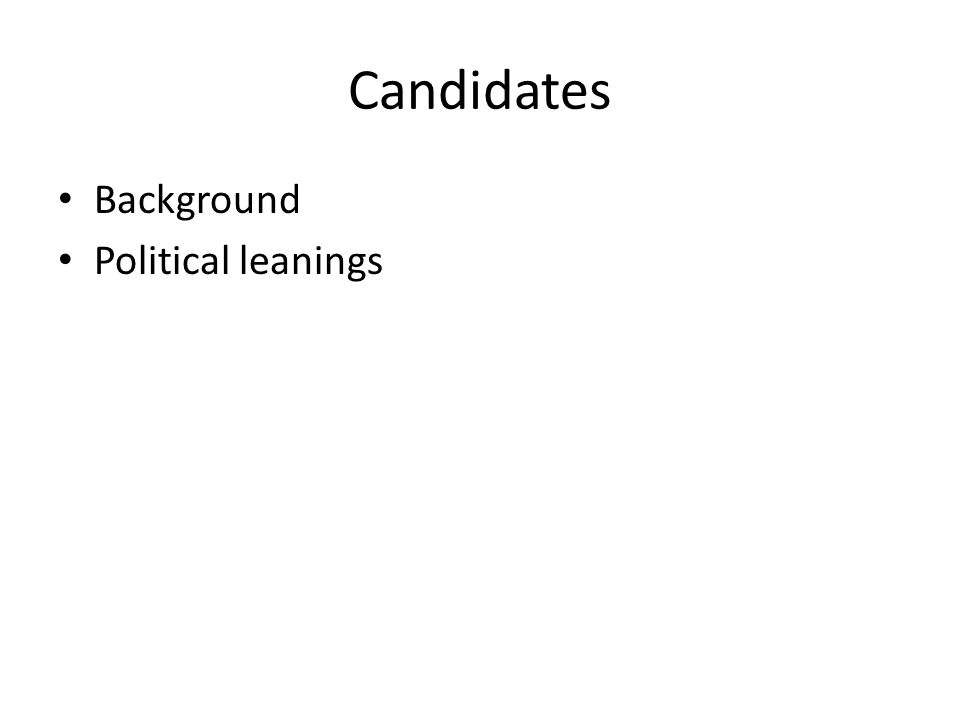 Candidates Background Political leanings