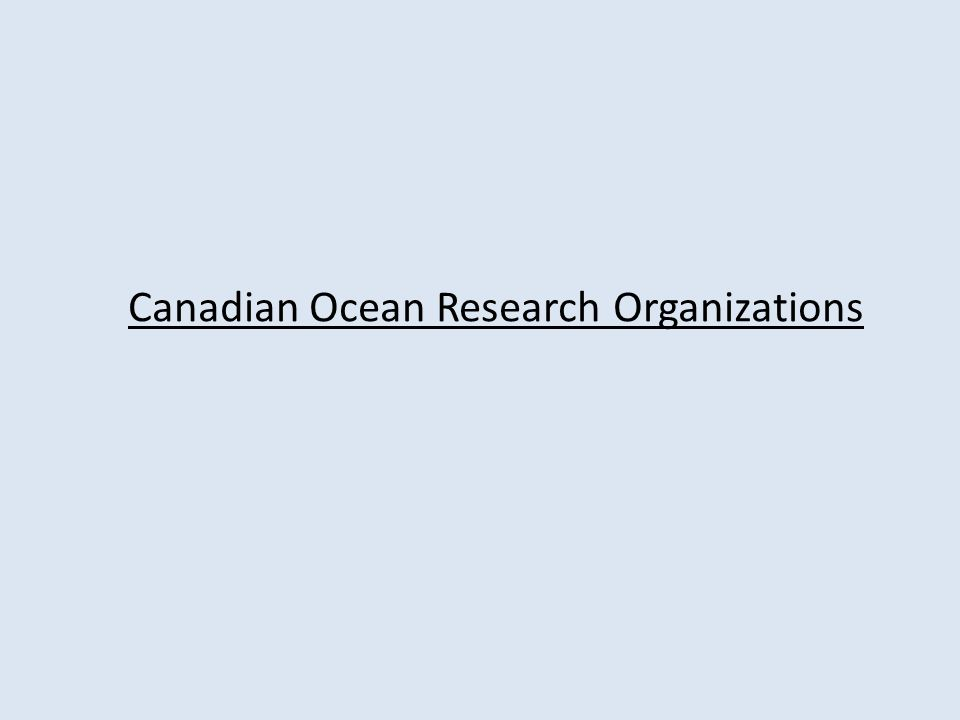 Canadian Ocean Research Organizations