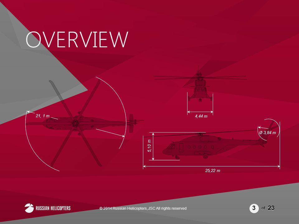 of 23 OVERVIEW 3 3 3 3 © 2014 Russian Helicopters, JSC All rights reserved 21, 1 m 4,44 m Ø 3,84 m 25,22 m 5,10 m