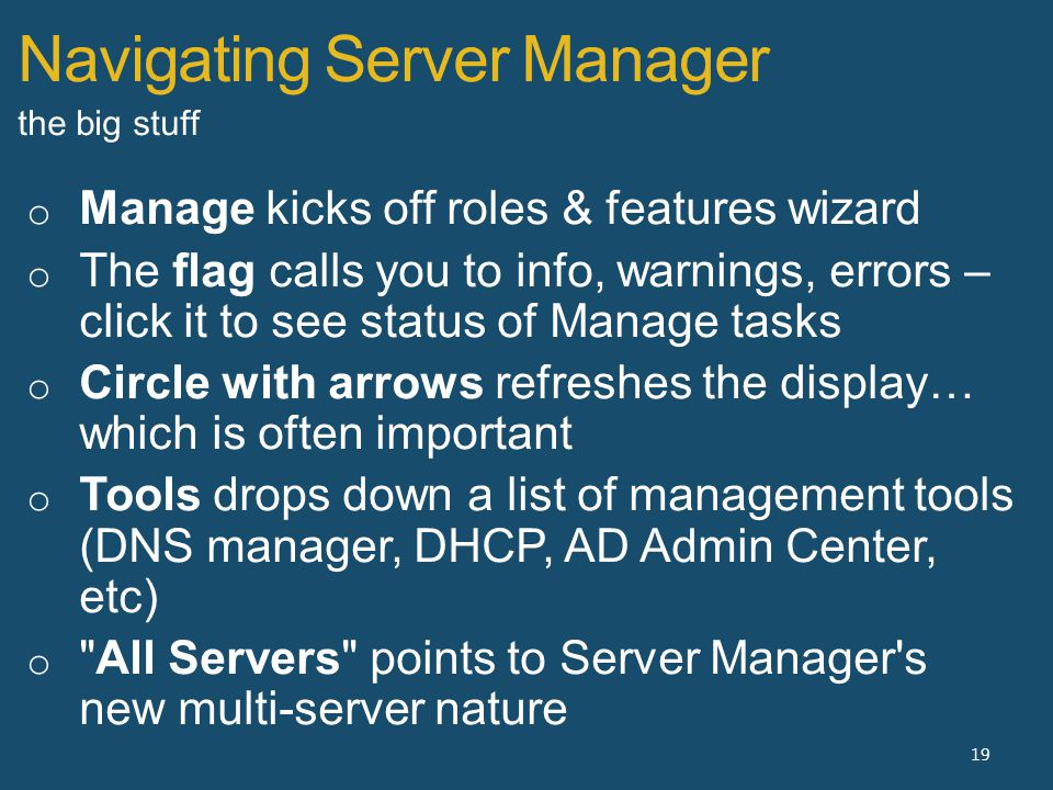 Navigating Server Manager 19