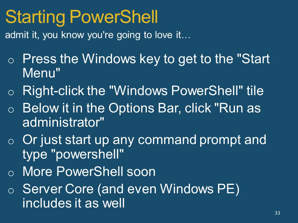 Starting PowerShell 33