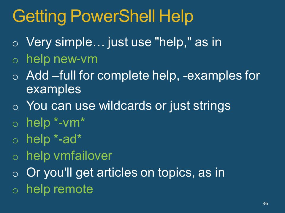 Getting PowerShell Help 36