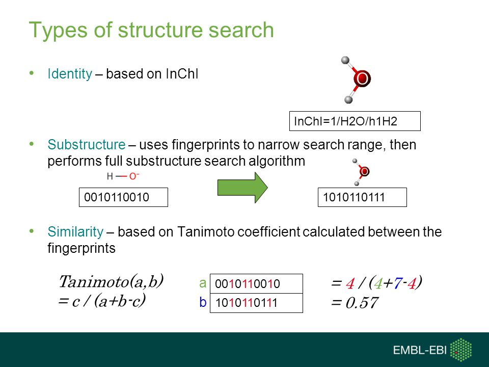 Types of structure search Identity – based on InChI Substructure – uses fingerprints to narrow search range, then performs full substructure search algorithm Similarity – based on Tanimoto coefficient calculated between the fingerprints InChI=1/H2O/h1H2 10101101110010110010 1010110111 0010110010 Tanimoto(a,b) = c / (a+b-c) = 4 / (4+7-4) = 0.57 a b