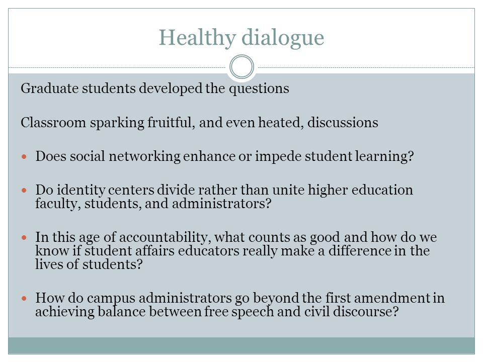 Healthy dialogue Graduate students developed the questions Classroom sparking fruitful, and even heated, discussions Does social networking enhance or