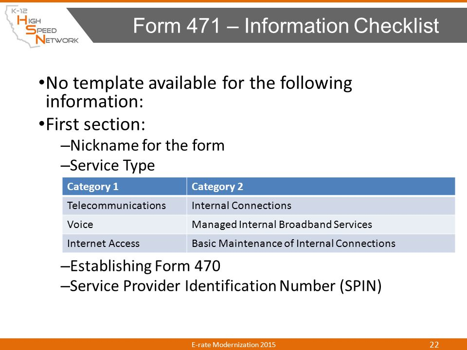 No template available for the following information: First section: – Nickname for the form – Service Type – Establishing Form 470 – Service Provider Identification Number (SPIN) Form 471 – Information Checklist E-rate Modernization 2015 22 Category 1Category 2 TelecommunicationsInternal Connections VoiceManaged Internal Broadband Services Internet AccessBasic Maintenance of Internal Connections