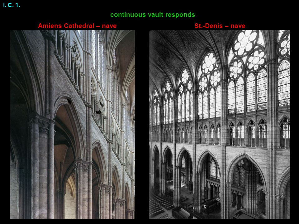 I. C. 1. St.-Denis – naveAmiens Cathedral – nave continuous vault responds
