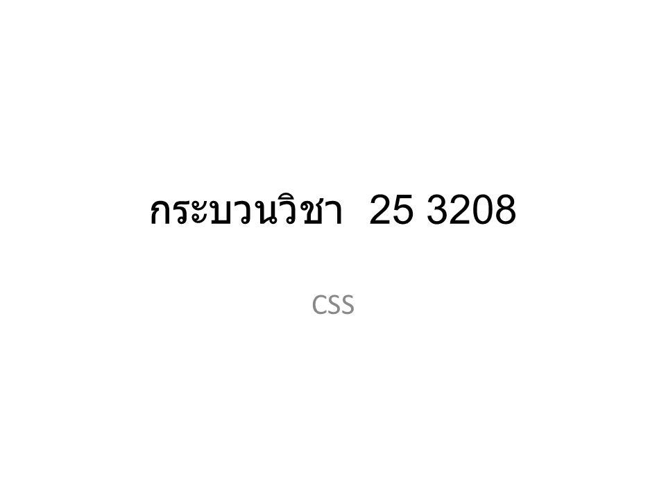 กระบวนวิชา 25 3208 CSS