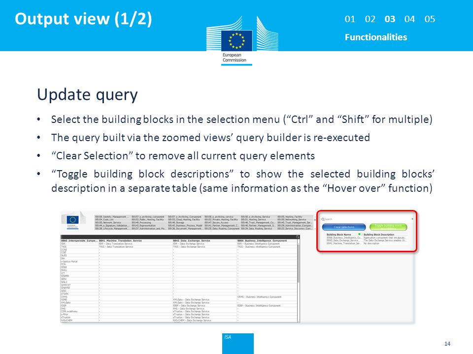 """Click to edit Master title style Output view (1/2) 14 Update query Select the building blocks in the selection menu (""""Ctrl"""" and """"Shift"""" for multiple)"""