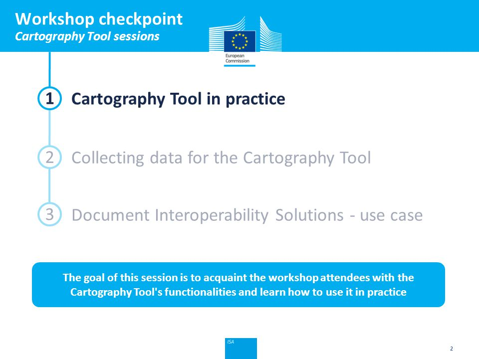 Click to edit Master title style Workshop checkpoint Cartography Tool sessions 2 1 2 3 Cartography Tool in practice Collecting data for the Cartography Tool Document Interoperability Solutions - use case The goal of this session is to acquaint the workshop attendees with the Cartography Tool s functionalities and learn how to use it in practice