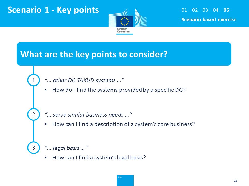 Click to edit Master title style 22 Scenario 1 - Key points What are the key points to consider.