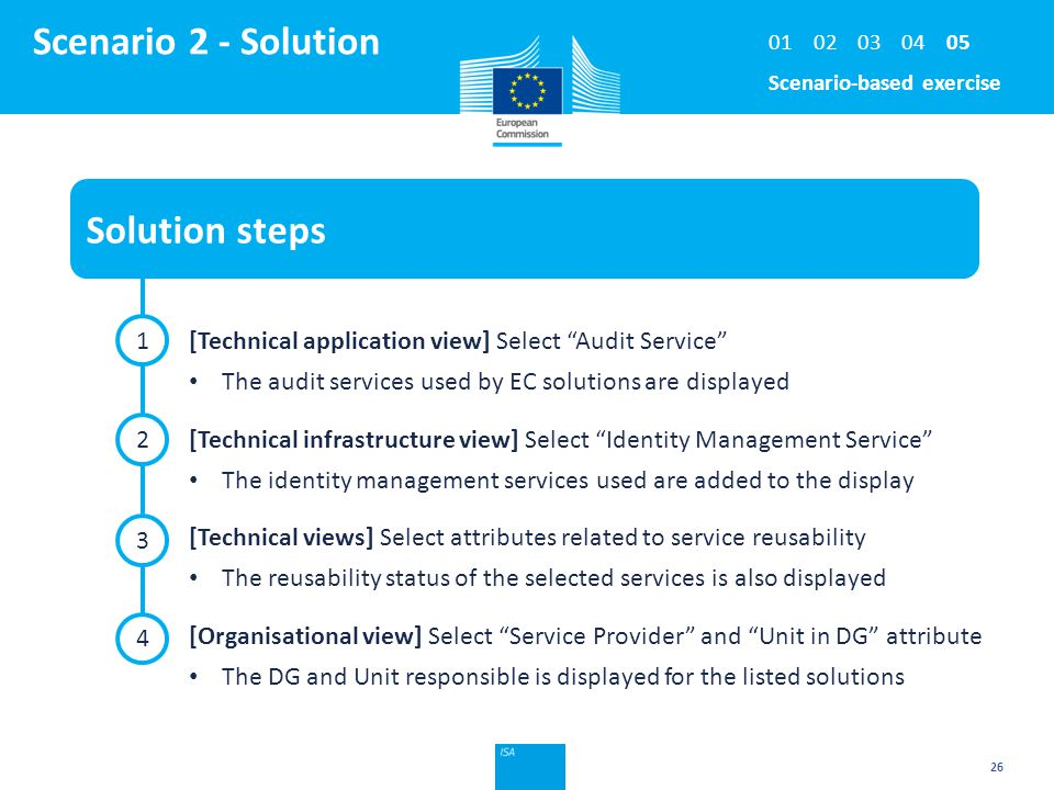 Click to edit Master title style 26 Scenario 2 - Solution Solution steps 1 2 4 [Technical application view] Select Audit Service The audit services used by EC solutions are displayed [Technical infrastructure view] Select Identity Management Service The identity management services used are added to the display [Technical views] Select attributes related to service reusability The reusability status of the selected services is also displayed [Organisational view] Select Service Provider and Unit in DG attribute The DG and Unit responsible is displayed for the listed solutions 3 Scenario-based exercise 0302040105