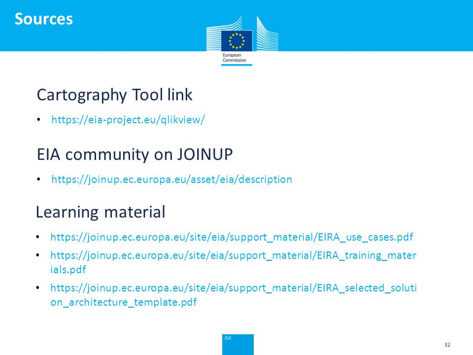 Click to edit Master title style Sources 32 Cartography Tool link https://eia-project.eu/qlikview/ EIA community on JOINUP https://joinup.ec.europa.eu/asset/eia/description Learning material https://joinup.ec.europa.eu/site/eia/support_material/EIRA_use_cases.pdf https://joinup.ec.europa.eu/site/eia/support_material/EIRA_training_mater ials.pdf https://joinup.ec.europa.eu/site/eia/support_material/EIRA_selected_soluti on_architecture_template.pdf