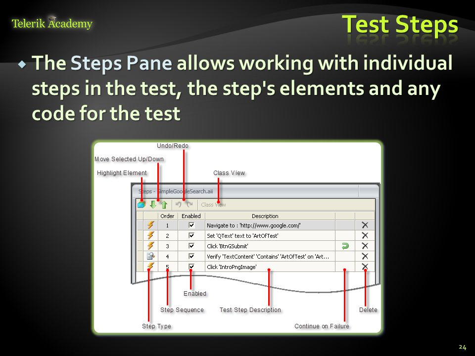  The Steps Pane allows working with individual steps in the test, the step s elements and any code for the test 24