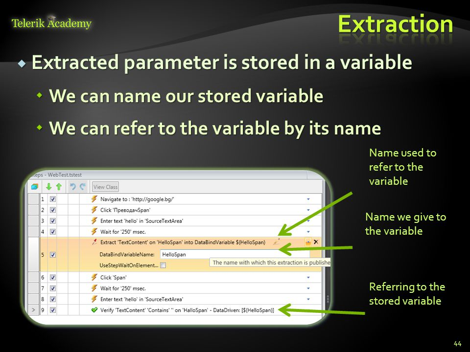  Extracted parameter is stored in a variable  We can name our stored variable  We can refer to the variable by its name 44 Name used to refer to the variable Name we give to the variable Referring to the stored variable