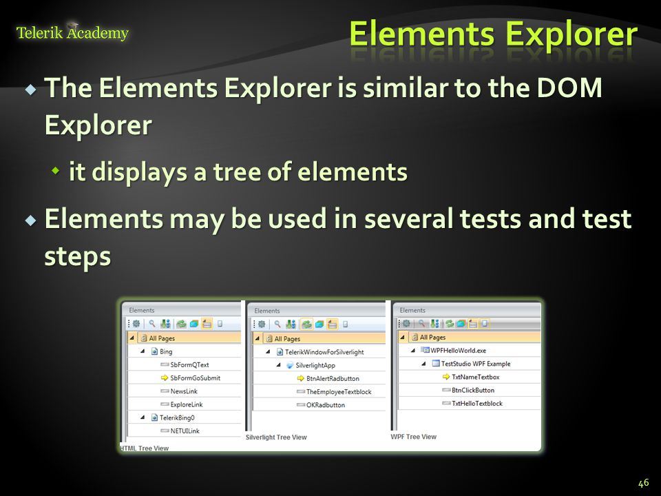  The Elements Explorer is similar to the DOM Explorer  it displays a tree of elements  Elements may be used in several tests and test steps 46