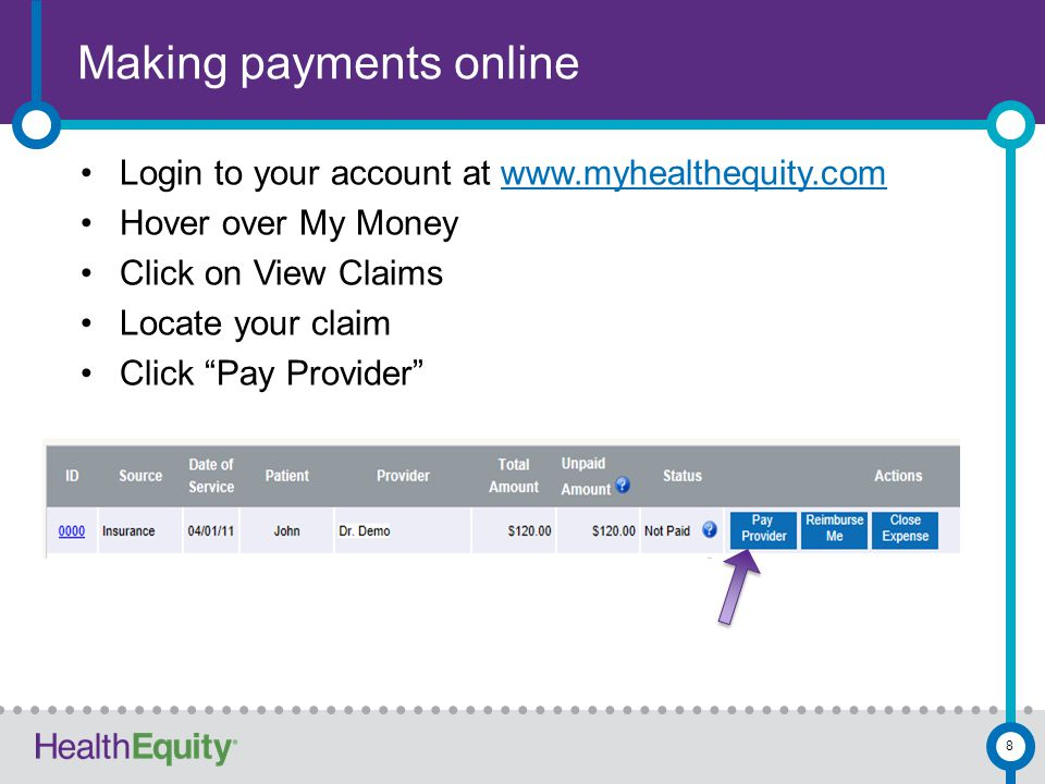 Powerful tools Convenient access Online Using our free mobile app By telephone Use your HealthEquity account to Check your balance Review transactions Review claims Submit new claims or documents 9