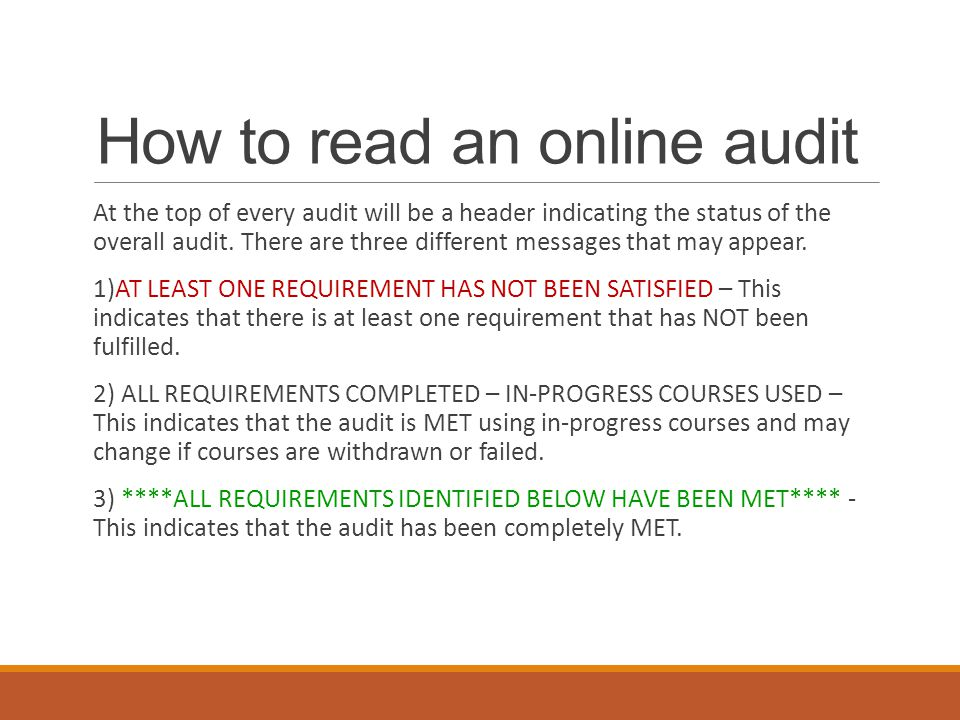 How to read an online audit At the top of every audit will be a header indicating the status of the overall audit.