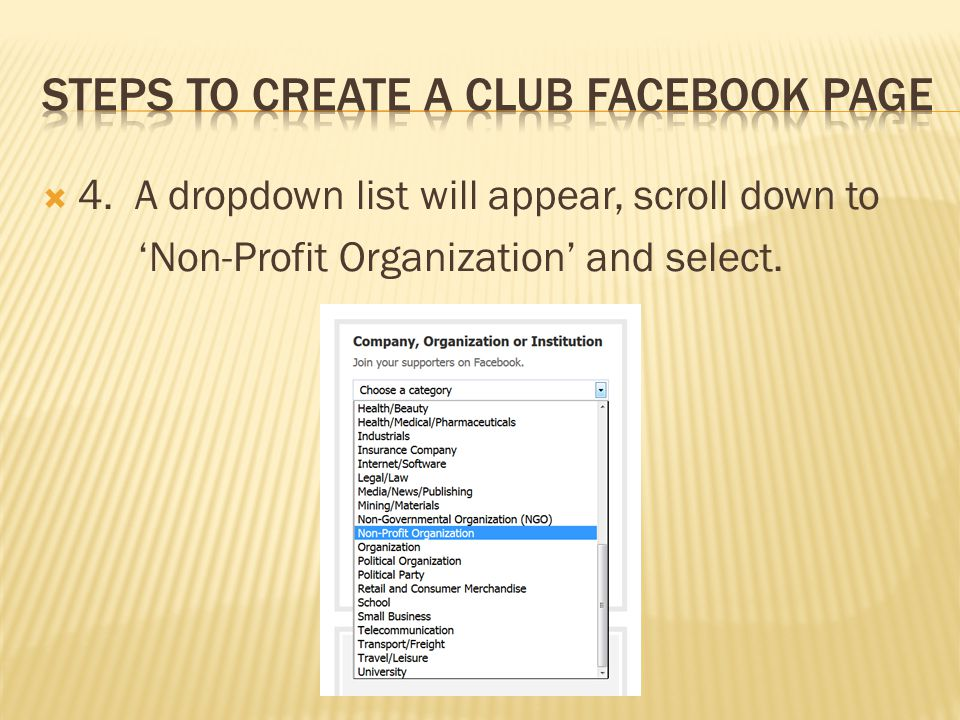  4. A dropdown list will appear, scroll down to 'Non-Profit Organization' and select.
