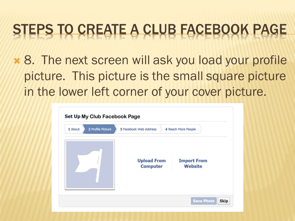  8. The next screen will ask you load your profile picture.