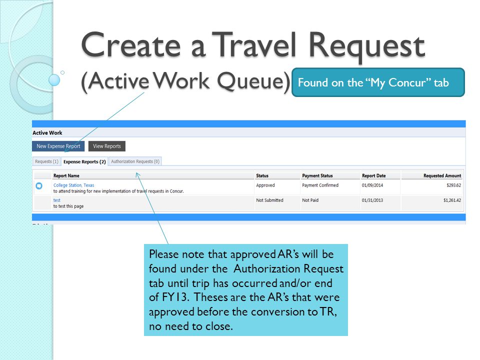 Create a Travel Request (Active Work Queue) Found on the My Concur tab Please note that approved AR's will be found under the Authorization Request tab until trip has occurred and/or end of FY13.