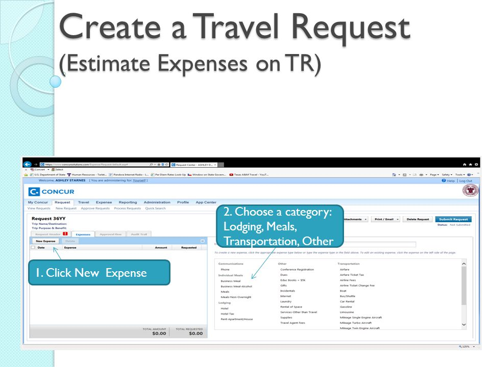 Create a Travel Request (Estimate Expenses on TR) 1.