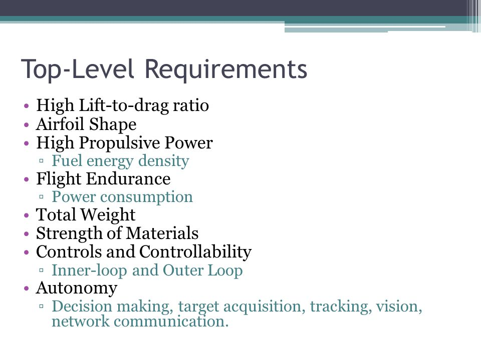 Top-Level Requirements High Lift-to-drag ratio Airfoil Shape High Propulsive Power ▫Fuel energy density Flight Endurance ▫Power consumption Total Weight Strength of Materials Controls and Controllability ▫Inner-loop and Outer Loop Autonomy ▫Decision making, target acquisition, tracking, vision, network communication.