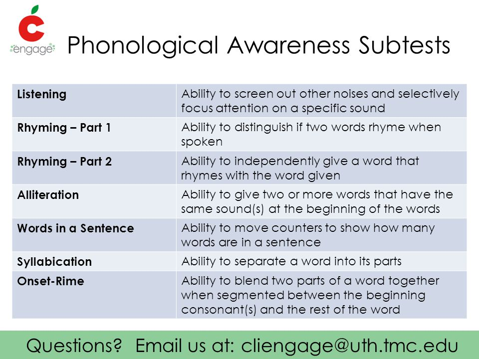Questions? Email us at: cliengage@uth.tmc.edu Phonological Awareness Subtests Listening Ability to screen out other noises and selectively focus atten