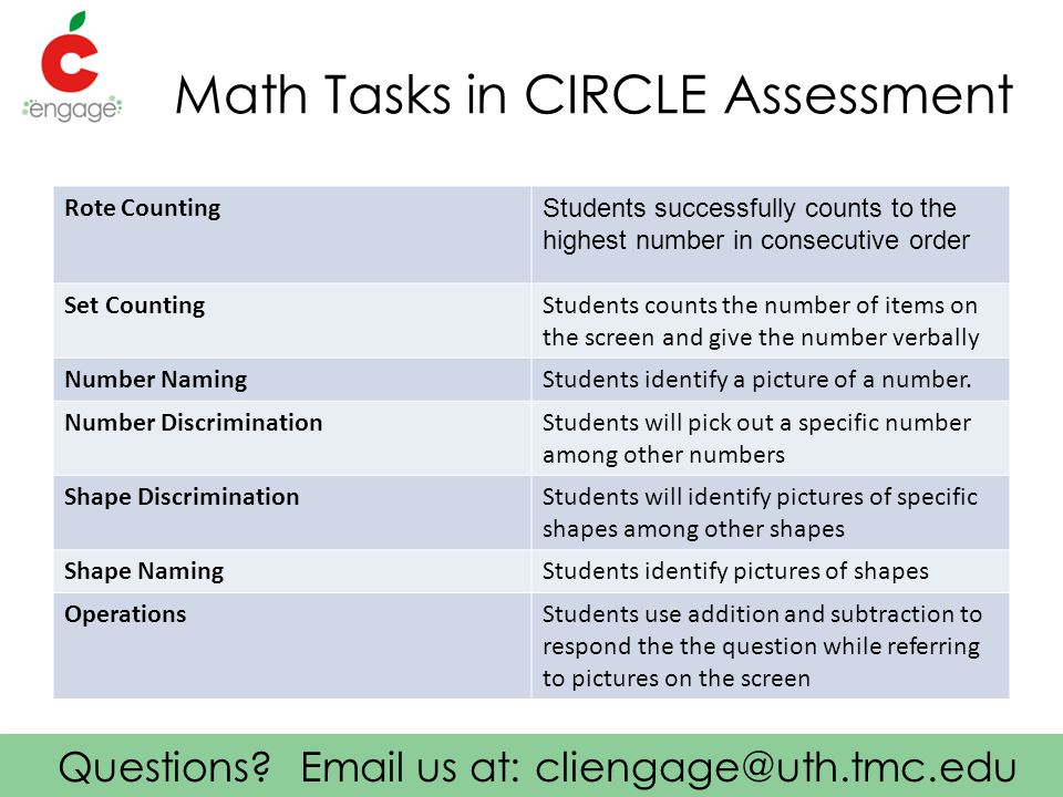 Questions? Email us at: cliengage@uth.tmc.edu Math Tasks in CIRCLE Assessment Rote Counting Students successfully counts to the highest number in cons